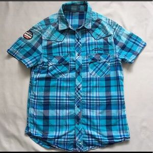 Men's Blue Plaid Short Sleeve Shirt Size M